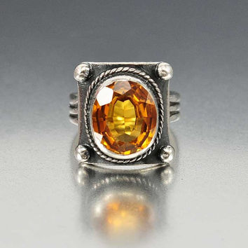Rare Yellow Golden Sapphire Ring, Sterling Silver Modernist Ring, Mid Century Ring, Statement Ring Vintage Rare Earth Gemstone Ring