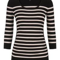 3/4 Sleeve Cinched Side Striped Sweater