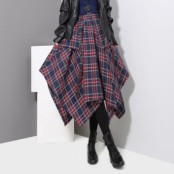 Women Casual Retro Multicolor Tartan Middle Long Section Irregular Show Thin A Word High Waist Skirt