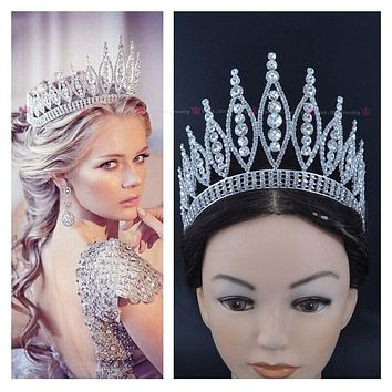 Crowns Tiaras Miss Pageant Queen Austrian Rhinestone Crystal Hair Accessories Full Round Crown
