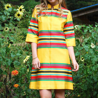 60s Mod Dress, Rainbow Stripe Psychedelic Dress, Zip Front Retro 60s Dress, Vintage Scooter dress, 1960s Yellow Abstract Shift Dress, S M