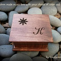 Wooden Music Box - Monogrammed Gift - Engraved Music Box with a sun image and your initial, choice of color and music box song
