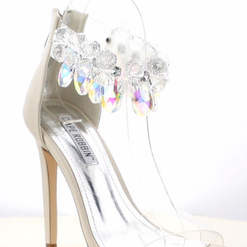"Cape Suzy 54 Jeweled Ankle Strap Sandal Shoe Nude - 4.5"" High Heels"