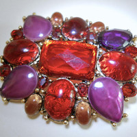 Purple Red LIZ CLAIBORNE Lucite Brooch, Faceted Cabochons, Acrylic Art Glass Vintage