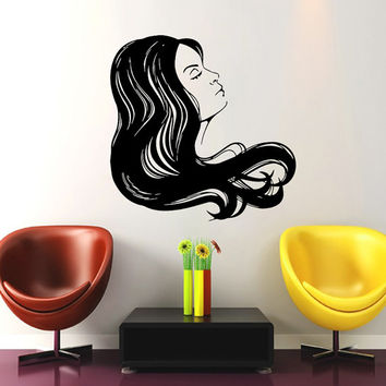 Makeup Wall Decal Vinyl Sticker Decals Home Decor Mural Make Up Girl Eyes Woman Fashion Cosmetic Hairdressing Hair Beauty Salon Decor SV6042