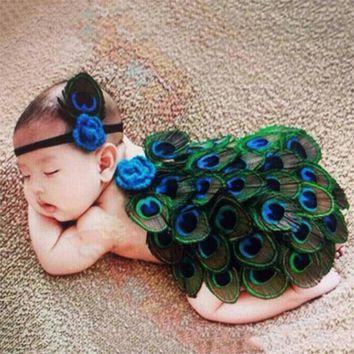 Beautiful Peacock Newborn Infant Baby Girl Photography Prop