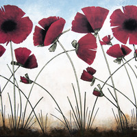 "Red Poppy Painting - "" Poppies in the Sun"" - Print"