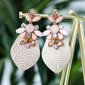 Voyage Pink Leather Statement Earring