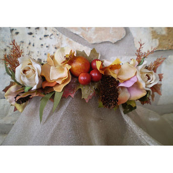 Autumn floral head wreath fall flowers harvest Lammas bridal flower crown renaissance faerie costume