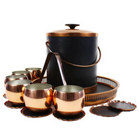 Coppercraft Guild Bar Set, Ice Bucket, Roly Polies, Tray, Coasters