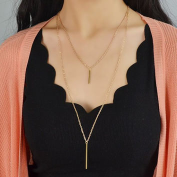 Elegant Layered Multi Strand Gold Double Bar Pendant Sweater Necklace Bridal Wedding Bridesmaid Gifts