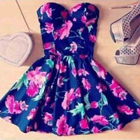 Strapless Floral Print A-Line Mini Dress