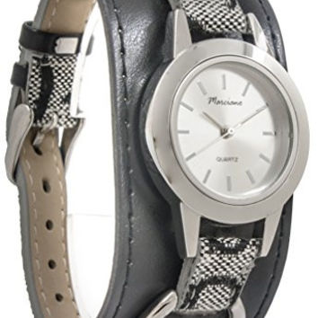 M&c Women's | Monogrammed Black PU Leather Bangle Watch | EA0038