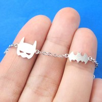 Batman Bat Logo Silhouette and Mask Charm Bracelet in Silver | DOTOLY