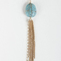 Smooth Stone and Tassel Necklace