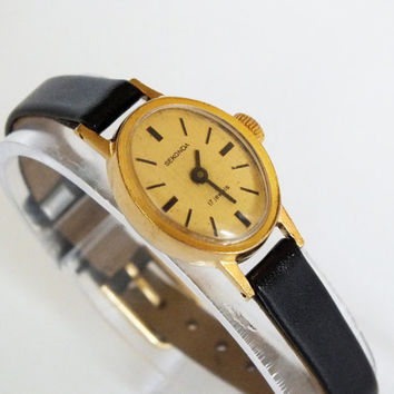 Oval women's watch Gold Plated Ladies Watch Vintage Small Women's Watch SEKONDA 80s