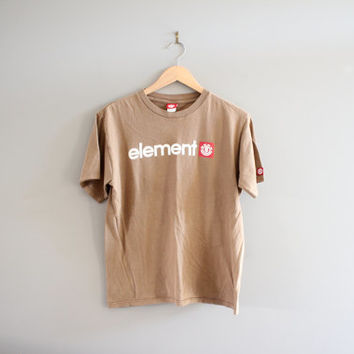 Element Tee Light Brown Beige Cotton Light Worn Distressed Skateboard Skater Vintage 90s Size M #T139A