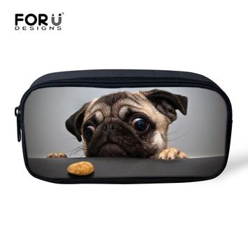 FORUDESIGNS Kawaii Women Make up Cases Cosmetic Bags Animal Pug Dog Cat Pencil Pouch Child Girls Boys Stationery School Supplies