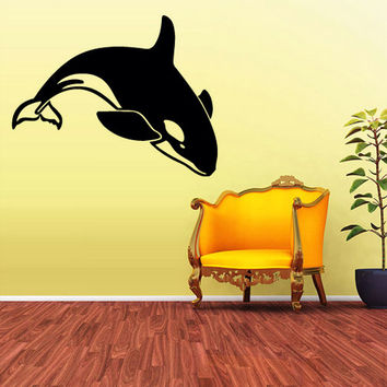 rvz1705 Wall Decal Sticker Sea Ocean Orca Dolphin Animals