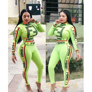 FENDI Fashion Women Casual Print High Collar Sweater Pants Set Two-Piece Sportswear Green
