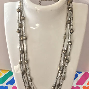 Vtg Four Strand Silver Tone Beaded Necklace / Multi Strand Silver Boho Necklace / Silver Seed Beads Round Faceted Beads & Long Tube Beads