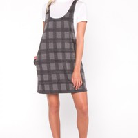 Andrea Plaid Layered Mini Dress