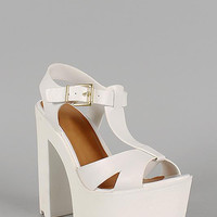 Soda Leatherette Slingback Buckle T-Strap Lug Sole Heel Color: Off White, Size: 5.5