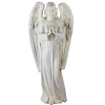 "27"" Standing Ivory Praying Angel Religious Outdoor Decorative Garden Statue"