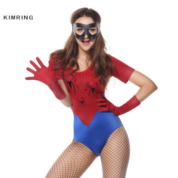 Kimring Sexy Spiderman Halloween Costume for Women Superwoman Heroine Costume Carnival Fantasias Bodysuit Cosplay Adult Costumes