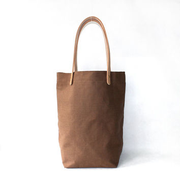 Camel organic Linen Cotton Tote with Natural Leather Handle-Buy one,get a gift for free