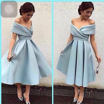 Promotion 2017 Cheap Maid of Honer V-Neck Off shoulder Short Sleeve Pleated Tea Length Long Bridesmaid Dress for women
