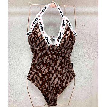 FENDI Summer New More Letter Print Swimsuits One Piece Bikini Set Bathing Suits