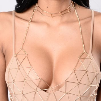 Love Behind Bars Body Chain - Gold