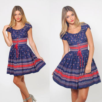Vintage 60s BANDANA Print Dress FOLK Print Mini Dress Square Dance Dress Rockabilly CORSET Dress
