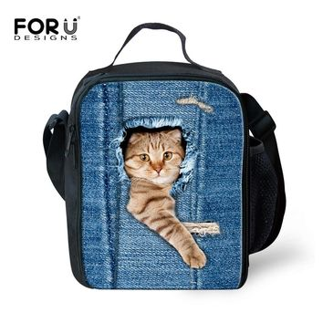 Fashion Portable Insulated Canvas Lunch Bag Cute 3D Animal Cat Printed Thermal Food Picnic Lunch Bags for Women Kids Lunch Box