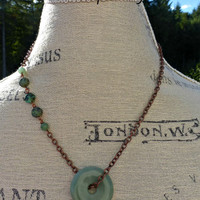Green turquoise and Jade stone necklace with copper metal. Boho jewelry.