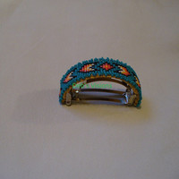 Native American Style square stitched ponytail barrette