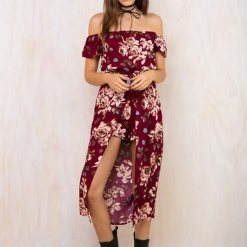 Red Wine Floral Print Off Shoulder Asymmetric Layered Romper