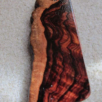 Natural Raw Edge, Khamphi Rosewood, Exotic Wood Dangle EarringsExoticWoodJewelryAnd handcrafted