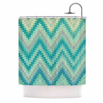 "Nika Martinez ""Seventies Emerald Chevron"" Green Abstract Shower Curtain"