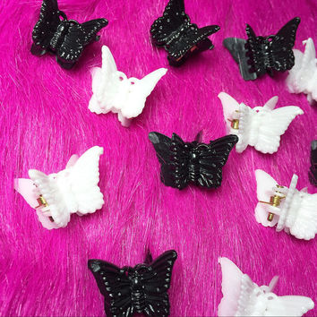 Butterfly Clips, 90's Butterfly Clips, Black and White Butterfly Clips, 90s Hair Accessories, Kawaii