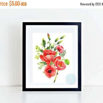 25% OFF SALE- PRINTABLE Flower Art Prints Poppy Painting Art Poppy Art Poppy Watercolor Art Red Poppies Floral Wall Art Flowers Art Print Fl