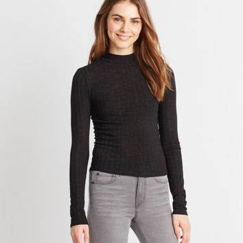 Prince & Fox Solid Mock Neck Ribbed Top