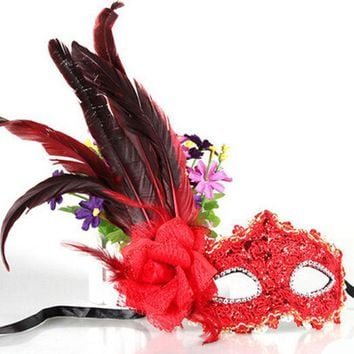 ICIK4S Leather Big Plume Flower Mask Party Ball Masquerade Masks Halloween Princess of Venice Mask Woman Lady Female Wedding Decoration