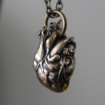 Anatomical Heart Necklace In Solid Bronze 154