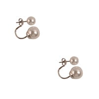 Fashion Double Peal Earrings White Beads Studs Simple Studs
