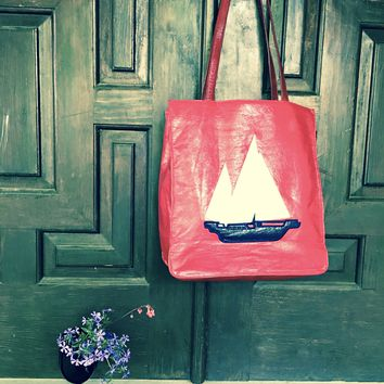 Liz Claiborne Vintage Bag Red Tote Handbag Sailboat Whimsical Figural Accessory