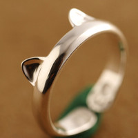 women retro cat ring girl unique 925 sterling silver adjustable ring + gift box + free shipping 247