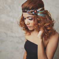 NEW : Indian - Teal, Brown - feather headband, boho headband, hippies headband,feather hair accessories,Indian headband