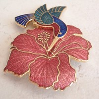 Hummingbird Brooch Pin Large Hibiscus Fish and Crown Fine Enamels Vintage